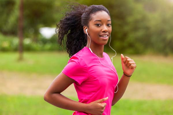 African American Woman Runner Jogging Outdoors - Fitness, People